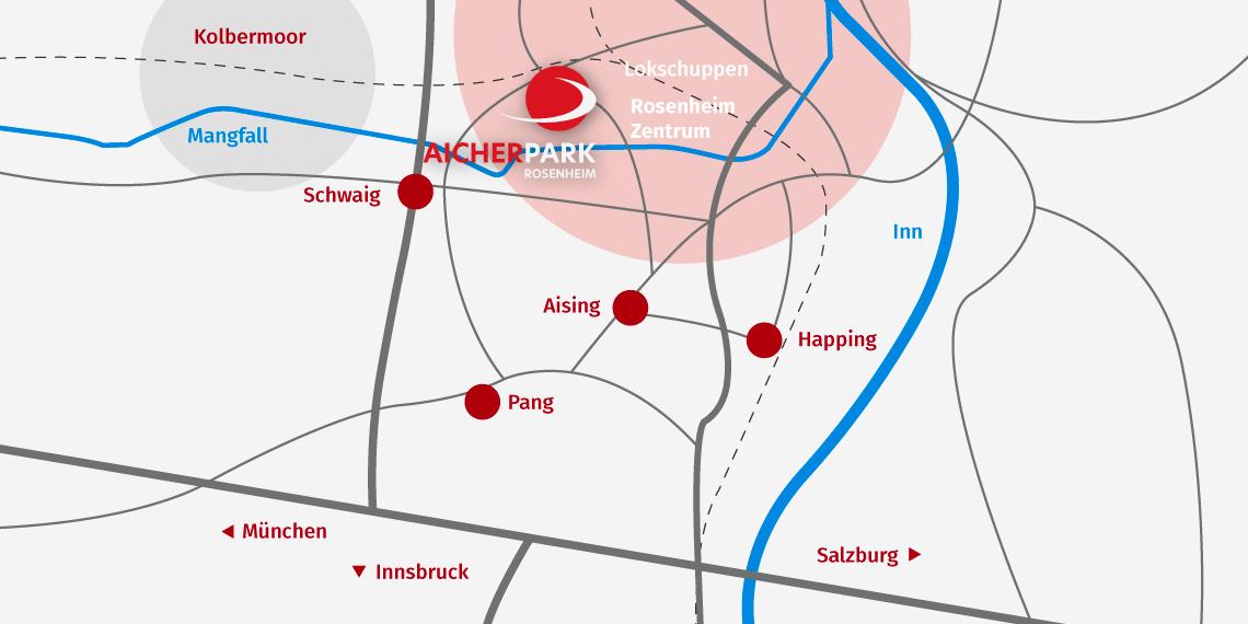 Anfahrtskarte vom AicherPark